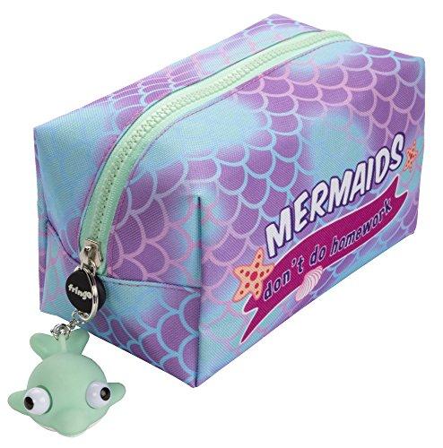 Fringoo - Grande astuccio quadrato per matite, cancelleria, sacchetto con cerniere e pupazzetto morbido sulla chiusura Grande Mermaids Don't Do Homework