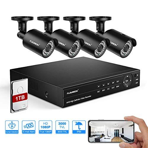FLOUREON DVR Kit Videosorveglianza 6 En 1 Sistema di Sorveglianza (8CH Videoregistratore CCTV + 4 * 1080P IP Telecamera Esterna) PIR Rilevazione Umana, Motion Alert, Accesso Remoto con 1TB HDD