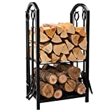 DOEWORKS All-In-One Heavy Duty Hearth Firewood Rack with Fireplace Tools Set, 18'Wide x 27.5'Tall Log Holder, Black