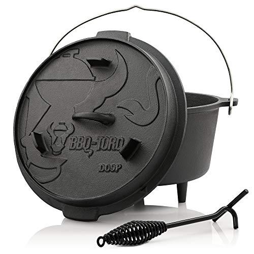 BBQ-Toro Forno Olandese Serie Premium I gi Cotto - preseasoned I Diverse Dimensioni I pentola in ghisa I tostatrice con alza Coperchio ((D) - DO9P - 9 Litri, pentola con Piedi)