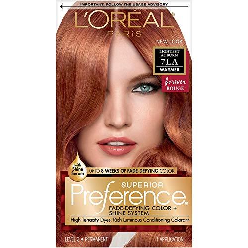 L'Oreal Paris Superior Preference Fade-Defying + Shine Permanent Hair Color, 7LA Lightest Auburn, Pack of 1, Hair Dye