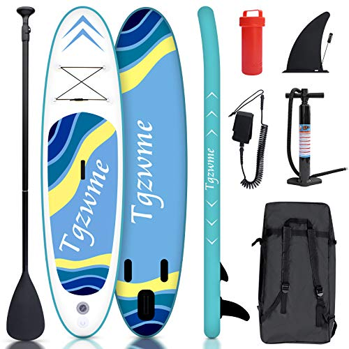 Tgzwme 10'×30'×6' Inflatable Stand Up Paddle Board with Adjustable Paddle,3 Fins, Leash, Hand Pump, Backpack