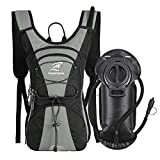 SHARKMOUTH FLYHIKER Hiking Hydration Backpack Pack with 2.5L BPA Free Water Bladder, Lightweight and Comfortable for Short Day Hikes, Day Trips and Trails, Gray