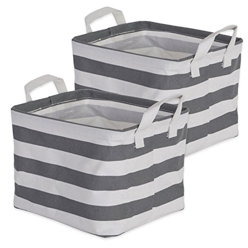 DII Cotton/Polyester Cube Laundry Basket, Perfect In Your Bedroom, Nursery, Dorm, Closet, 8 x 9.5 x 7', XS Set of 2 - Gray Rugby Stripe
