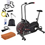 Schwinn 100425 Airdyne AD2 Upright Exercise Bike (Black) Bundle with Deco Gear Home Gym 7-Piece Fitness Kit and Workout Cooling Sport Towel