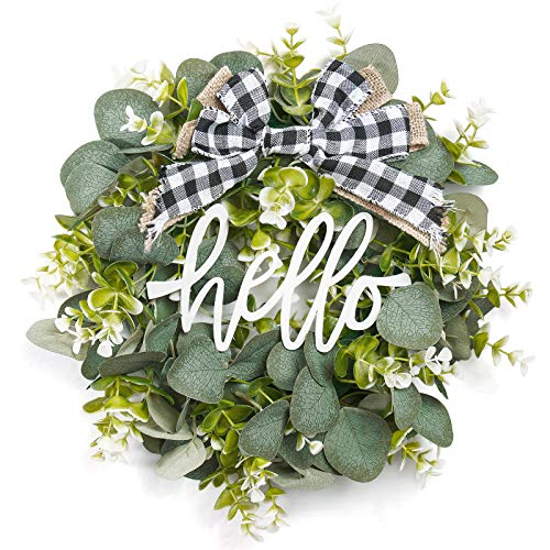 Dahey Small Hello Sign with Wreaths Rustic Front Door Decor Metal Hanging Sign with Artificial Eucalyptus 13inch Farmhouse Porch Decorations for Home Wedding Gift