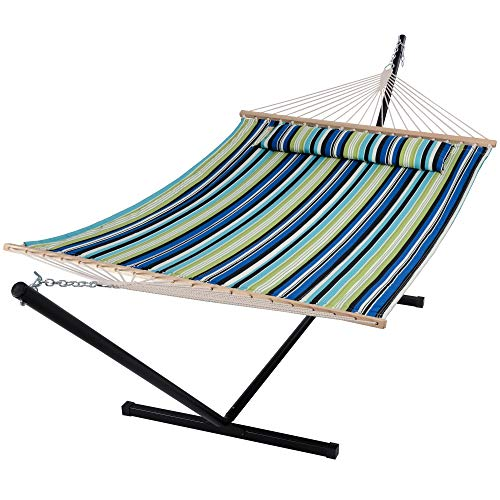 SUNCREAT Hammock with Stand 2 Person Heavy Duty, Freestanding Hammock with Spreader Bar, Soft Pillow, Green Stripes