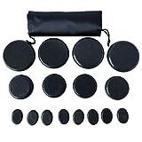 OKSANO Lot de 16 grands kits de massage pour pierre chaude de basalte et pierre chaude pour massage de pierres chaudes – Idéal pour spas, massothérapie, relaxation