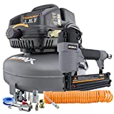 NuMax S3GI12CK 3 Gallon 1/2 HP Portable Electric Oil-Free Pancake Air Compressor with 2-in-1 18-Gauge Brad Nailer and Stapler, 25' Air Hose, 11-Piece Inflation Kit, and Fasteners (400 Count)