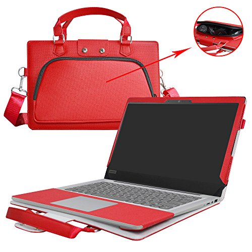 """Ideapad 120S 14 Case,2 in 1 Accurately Designed Protective PU Leather Cover + Portable Carrying Bag for 14"""" Lenovo Ideapad 120S 14 120S-14IAP Laptop(Not fit Ideapad 120S 11.6/110/100/320/310),Red"""