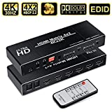 4x2 HDMI Switch 4K, avedio links HDMI Matrix Switcher 4 in 2 Out with Optical Toslink & 3.5mm Stereo Audio Out, Editable EDID HDR HDMI Switch with IR Remote, Support 4K, 1080P, 3D,Dolby TrueHD, DTS