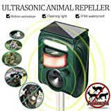 Fierre Shann Ultrasonic Animal Repeller with Solar Powered Waterproof Outdoor, Motion Sensor Alarm and Flashing Light for Raccoons, Rabbits, Birds, Squirrels, Deer, etc.