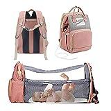Mochila para Pañales para Bebé 5 en 1, Bolsa de Pañales para Bebé de Viaje Multifuncional Bolsa para Pañales Impermeable Mochila de Gran Capacidad con Cama Con Puerto de Carga USB ( Color : Pink )