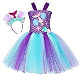 Cotrio Mermaid Tulle Tutu Skirt Girls Birthday Party Princess Dresses Toddler Kids Halloween Costume Outifts Fancy Dress with Headband (10-12 Years, Purple)