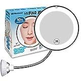 mixigoo 10X Magnifying Makeup Mirror, LED Mirror Adjustable Flexible Gooseneck & Locking Suction Cosmetic Mirror, Magnification Mirrors, 360° Swivel Wall Mirror, Vanity Mirror for Bedroom Bathroom