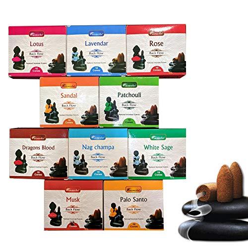 Aromatika Backflow Natural Incense Cones 12 Packets Total 120 pcs of 10 fragrances Dragon Blood,Lavendar,Musk,Nagchampa,Palo Santo,Rose,Patchouli,Sandal,White Sage,Lotus