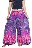 Lannaclothesdesign Womens 37 Inches Length Lounge Palazzo Pants Wide Legs S M L XL Sizes (M, Purple Rose Circle)