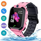 Waterproof Smart Watch for Boys Girls, SZBXD Kids Smartwatch with LBS/GPS Tracker Phone Call Touch Screen SOS Camera Voice Chat Alarm Clock Game for Birthday Gifts(Pink)