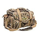 Rig'Em Right Waterfowl XL Shell Shocker Floating Bird Hunting Blind Bag with Built-in Sunglasses Case, Drink Holder, Ammo Compartment, Padded Shoulder Strap and more (Max5 HD Camo)