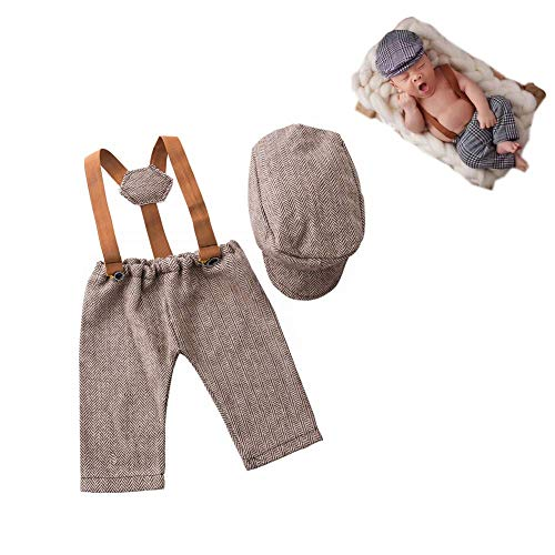Newborn Monthly Baby Photo Props Stripe Cool Boys Cap Rompers...