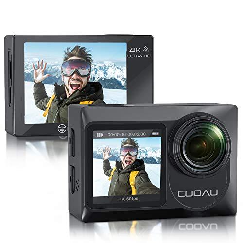 COOAU Action Cam Nativo 4K 60fps 20MP Touch Screen Wi-Fi videocamera con doppio Schermo LCD EIS Anti-Shake, Custodia fotocamera subacquea Impermeabile 40m con Microfono Esterno, 2x1350mAh Batterie