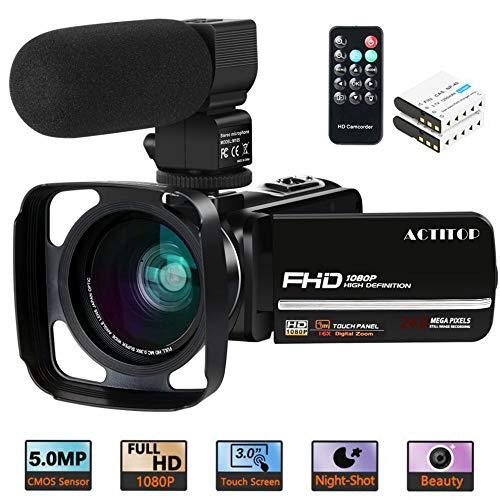 Videocamera, ACTITOP Camcorder FHD 1080P 24MP IR Night Vision 3'LCD Touch Screen Videocamera con microfono esterno, obiettivo grandangolare, telecomando e paraluce