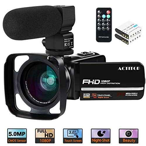 Videocamera, ACTITOP Camcorder FHD 1080P 24MP IR Night Vision 3'LCD Touch Screen Videocamera con...