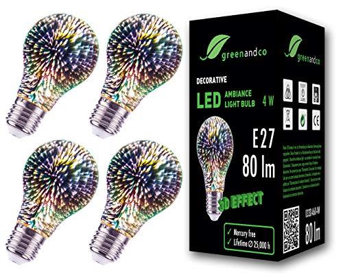 4x Lampadina a LED greenandco con effetto fuochi d'artificio 3D per un'illuminazione d'atmosfera decorativa E27 A60 4W 80lm 360 230V, nessun sfarfallio, non dimmerabile