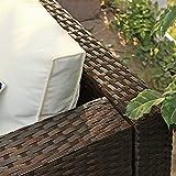 Gartenmöbel-Set 5-teilig aus Polyrattan handgeflochten Gartensofa Gartentisch mit Glasplatte - 6
