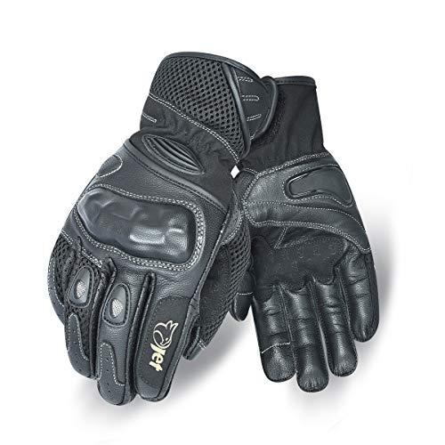 Jet Motorrad Handschuhe Sommer Leder Textil Knöchelschutz PRO MESH (L, Schwarz)