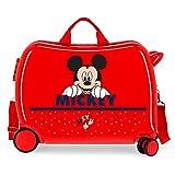 Disney Happy Mickey Maleta Infantil Rojo 50x38x20 cms Rígida ABS Cierre combinación 3,1Kgs 4 Ruedas Equipaje de Mano
