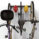 Koova Wall Mount Bike Storage Rack Garage Hanger for 3 Bicycles + Helmets | Fits All Bikes Even Large Cruisers / Big Tire Mountain Bikes | Heavy Duty Powder Coated Steel | Made In USA (3 Bike Rack)