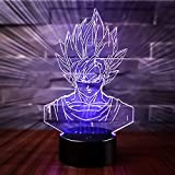 3D Lampe Illusion Optique LED Veilleuse, CKW 7 Couleurs Tactile Lampe de Chevet Chambre Table Art Déco Enfant Lumière de Nuit avec Câble USB Nouveauté De Noël Cadeau d'anniversaire (Dragon ball 1)