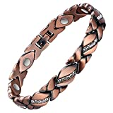 Jecanori Copper Magnetic Bracelet for Women Arthritis Pain Relief~3500 Gauss Magnet Bracelet~Effective Therapy for RSI&Carpal Tunnel~100% Pure Copper Crystal Bracelet~Jewelry Gift with Adjust Tool