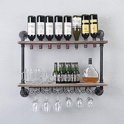 FURVOKIA Industrial Rustic Wall Mounted Wine Racks with Glass Holder Pipe Hanging Wine Rack,2-Tiers Wood Shelf Floating Shelves, Home Room Living Room Kitchen Display Rack (24inch)