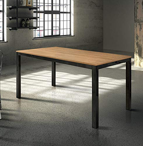 Milani Home s.r.l.s. Tavolo da Pranzo Moderno di Design ALLUNGABILE CM 80 X 140/200 Rovere Struttura...