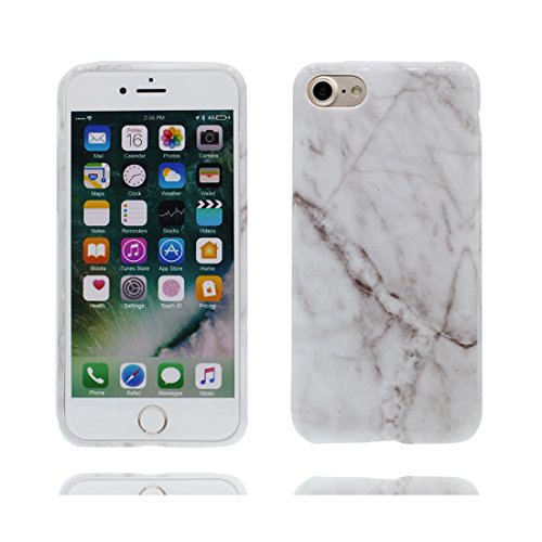 EarthNanLiuPowerTu Copertura iPhone 6S, iPhone 6 Copertura, Design Morbido/Marmo Design/Case Slot Flexible Snap su Cover in Pietra Naturale per iPhone 6S / 6 (4.7') / Bianca