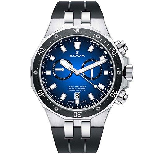 Edox Herren-Armbanduhr Delfin, das Original, 43mm, Schwarz, Schweizer Quarzuhrwerk, 101093CA BUIN