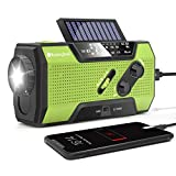 RunningSnail Solar Crank NOAA Weather Radio for Emergency with AM/FM, Flashlight, Reading Lamp and 2000mAh Power Bank (Green)