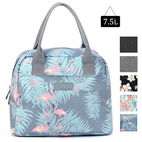 DIIG Lunch Bag for Women, Large Reusable Insulated Lunch Box for Work, Adult Foldable Tote for Office, Freezable Bag with Pocket, Gray/Floral/Flower/Flamingo Printing (Flamingo)
