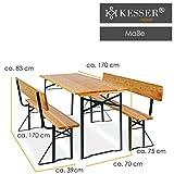 Bierzeltgarnitur mit lehne & breiter Tisch 3 teilig Gartenmöbel-Set - 6