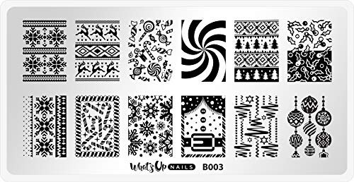Whats Up Nails - B003 Sweater Weather Stamping Plate for Christmas Winter Nail Art Design