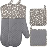 Silicone Oven Mitts and Pot Holders Set 500 F Heat Resistant Oven Gloves Flexible for Kitchen Cooking Baking Grilling Microwave with Quilted Liner BPA Free Non-Slip, Gray