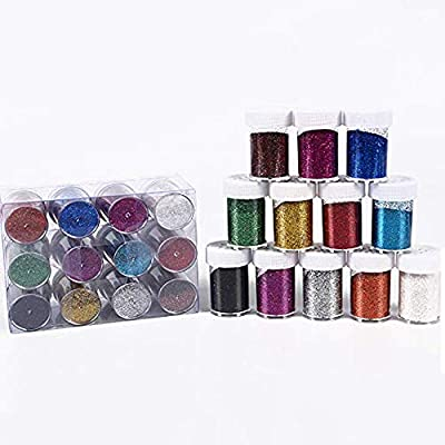 Package includes 12 transparent plastic container. Small and exquisite. Easy to place and carry. Bottle sizes are approx. 5 cm(2 inches) tall. Material: 100% Non Toxi Polyester.Make slime more shinning Glam up your face and nails with this showstoppi...