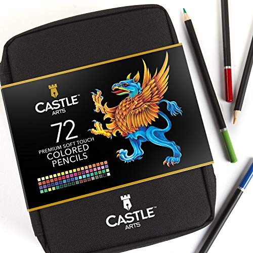 Astuccio con zip da 72 matite colorate Castle Art Supplies - Comodo astuccio con zip per raggruppare...