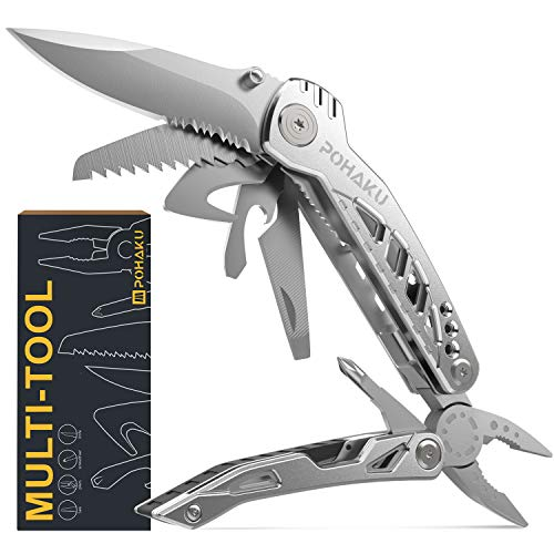 Multitool Cutter for Men's Gifts, POHAKU 13 in 1 Portable Multifunctional Multi tool with 3' Large...