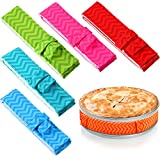 6 Pieces Bake Even Cake Strips Colorful Cake Pan Baking Strips Absorbent Thick Baking Tray Protection Strap for Clean Edges Baking