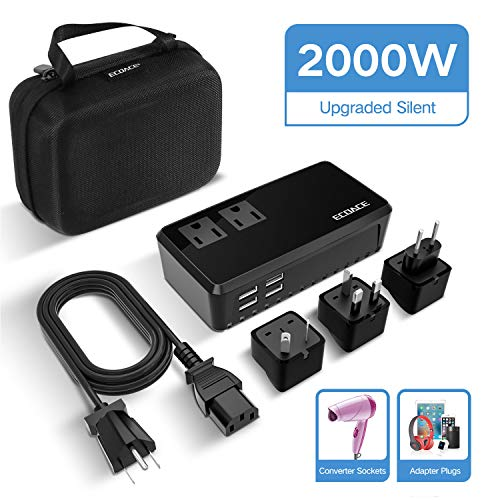 ECOACE Upgraded 2000W Voltage Converter with 4 USB Ports,Step Down 220V to 110V Power Converter for Single Voltage Hair Dryer,International 10A International Travel Adapter Plug for UK/AU/US/EU