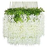 U'Artlines Lot de 24 Artificielle Fleurs Faux Wisteria Vigne Soie Fleur...