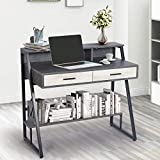 AILEEKISS Modern Computer Laptop Desk with Hutch and Bookshelf Study Writing Desk with Two Drawers Simple Workstation Home Office Desk Vanity Makeup Table (Cement Gray)